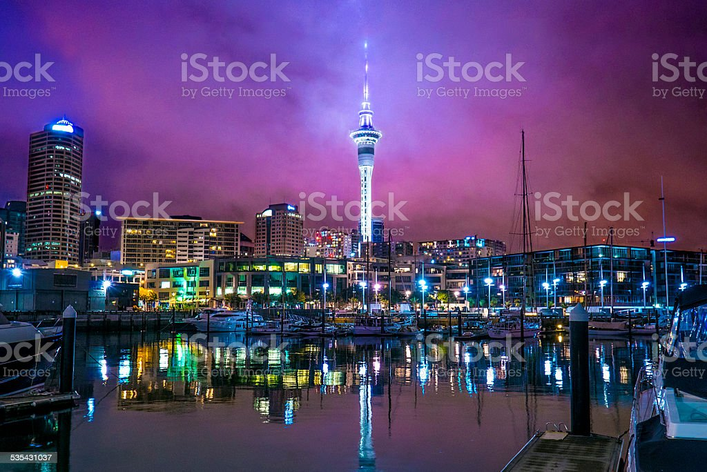 Night View at Sky Tower, Auckland stock photo