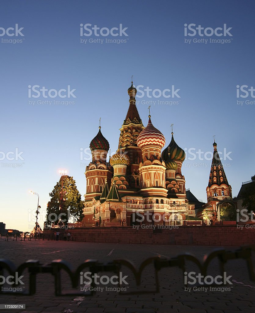 Night view at St. Basil Cathedral royalty-free stock photo