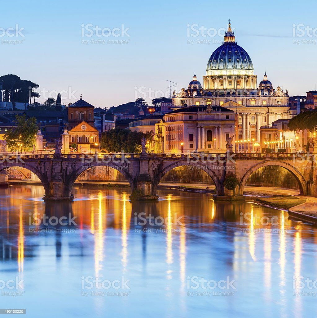 Night view at St. Peter's cathedral in Rome stock photo