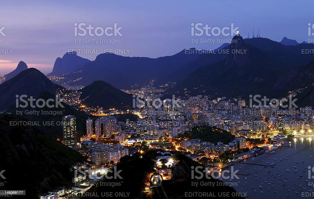Night view Botafogo in Rio de Janeiro royalty-free stock photo