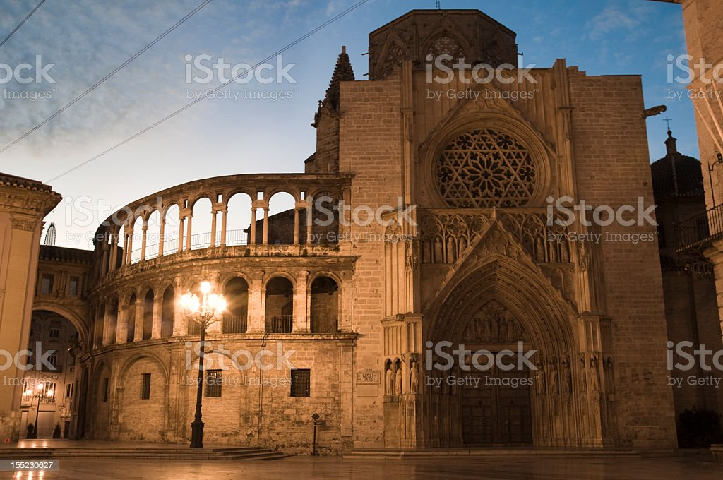 Night view building in Valencia stock photo