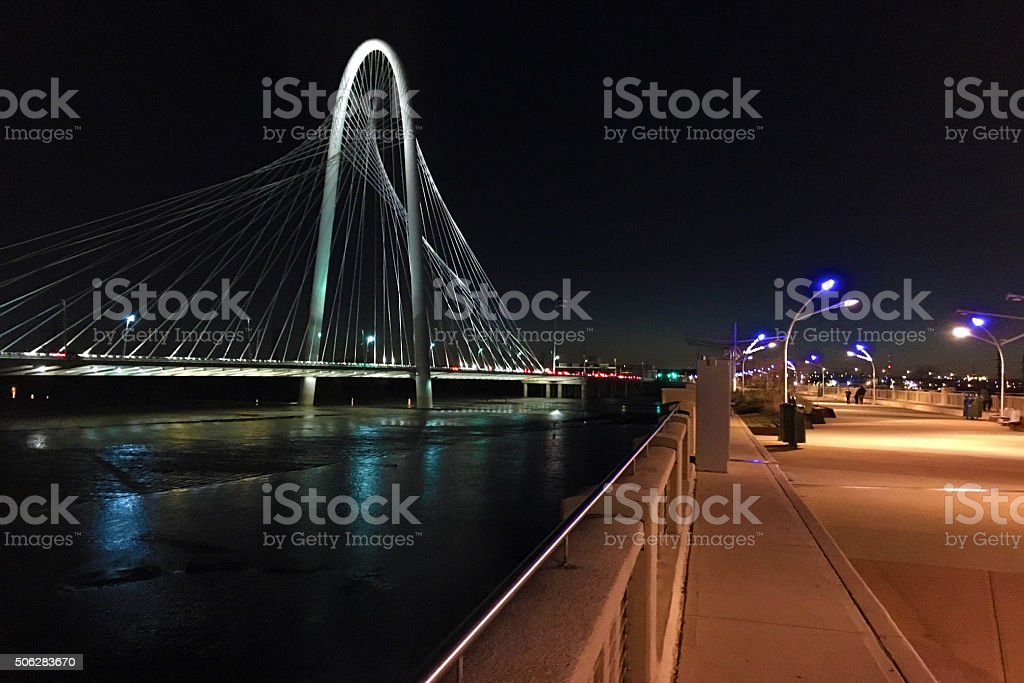Night view by bridge into Dallas stock photo