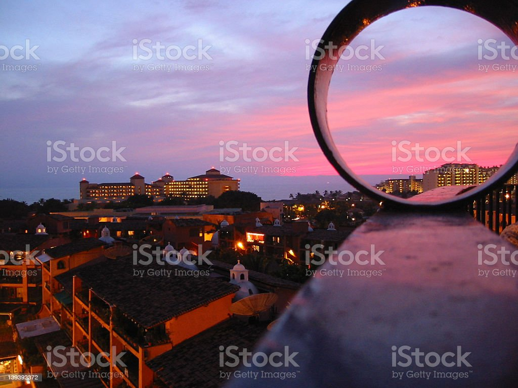 Night View & City Lights, Puerta Vallerta, Mexico royalty-free stock photo