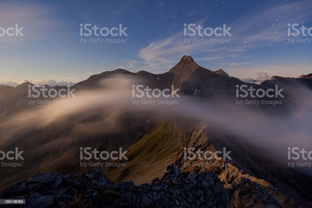 night view from mt. parseierspitze with stars in the sky royalty-free stock photo