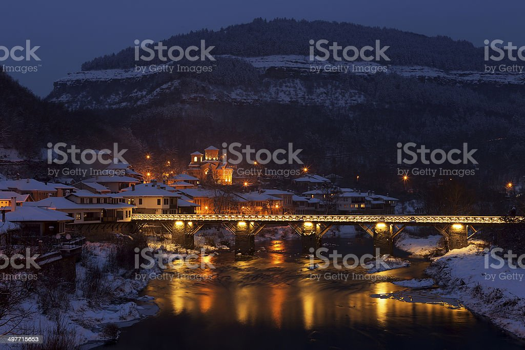 Night view from old town Veliko Tarnovo in Bulgaria royalty-free stock photo