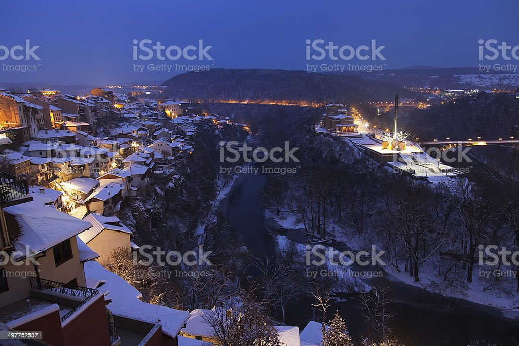 Night view from old town Veliko Tarnovo in Bulgaria royalty-free stock photo