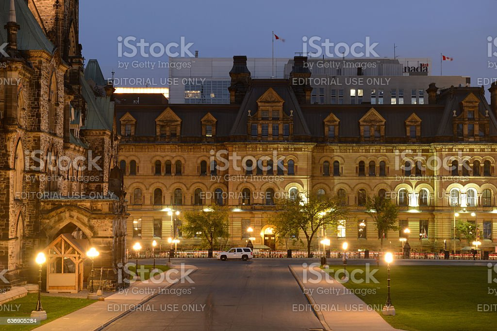 Night view from Parliament in Ottawa stock photo