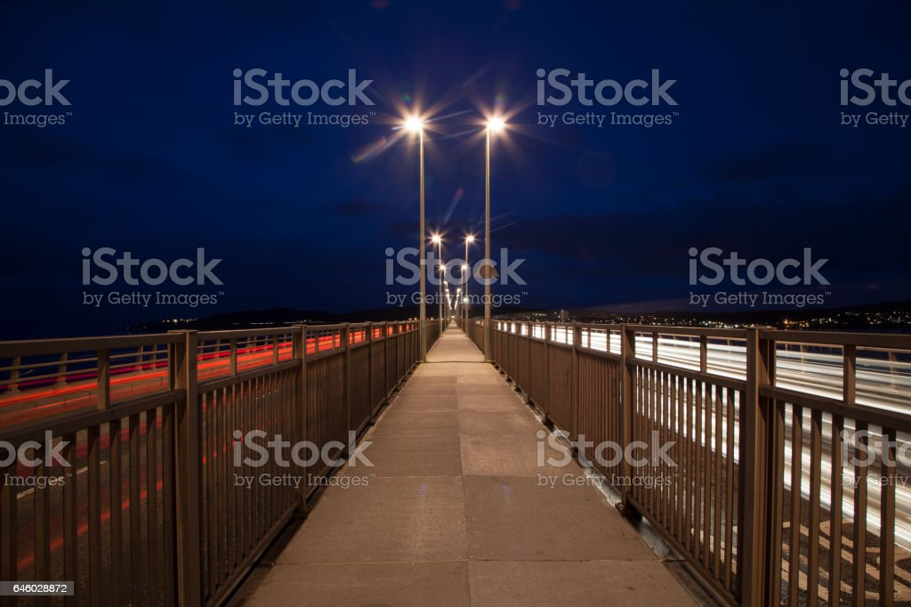 Night View from the central walkway of the Tay Road Bridge, Dundee stock photo