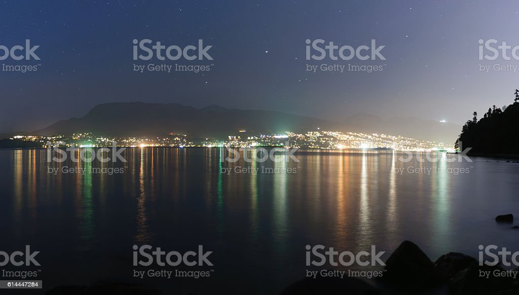 Night view from Tower Beach, Vancouver, Canada stock photo