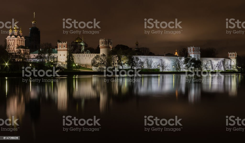 Night view illuminated Novodevichy Convent of Our Lady of Smolen stock photo