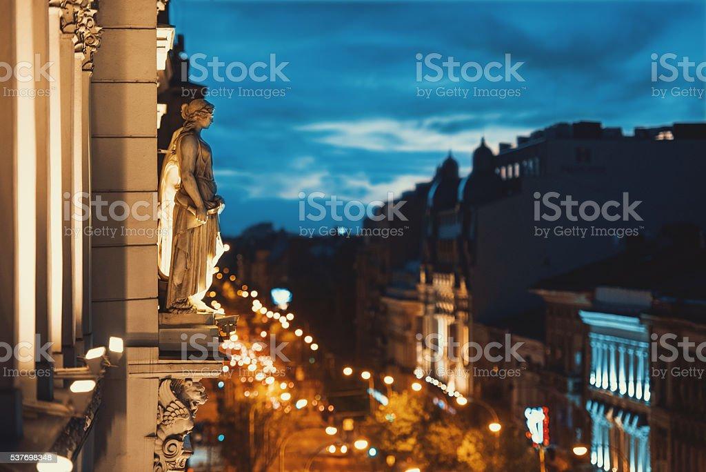 Night view in Bucharest city center stock photo
