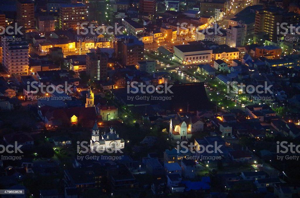 Vista nocturna de Hakodate foto de stock libre de derechos