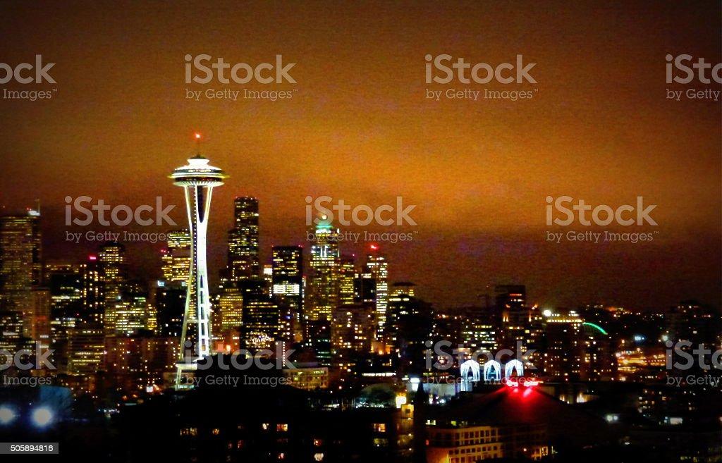 Night view in Seattle, WA stock photo