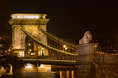 Night view lion statue at the Chain bridge, Budapest, Hungary