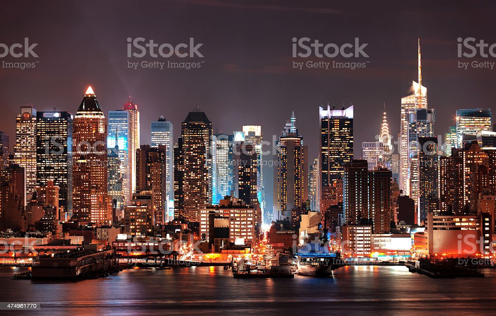 Night View Manhattan Buildings stock photo