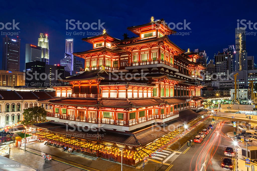 Night View of a Chinese Temple in Singapore Chinatown stock photo