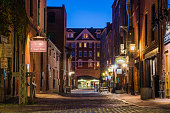 Night View of a Cobbled Street in Portland, ME