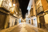 night view of a narrow street in ancient town Briviesca.