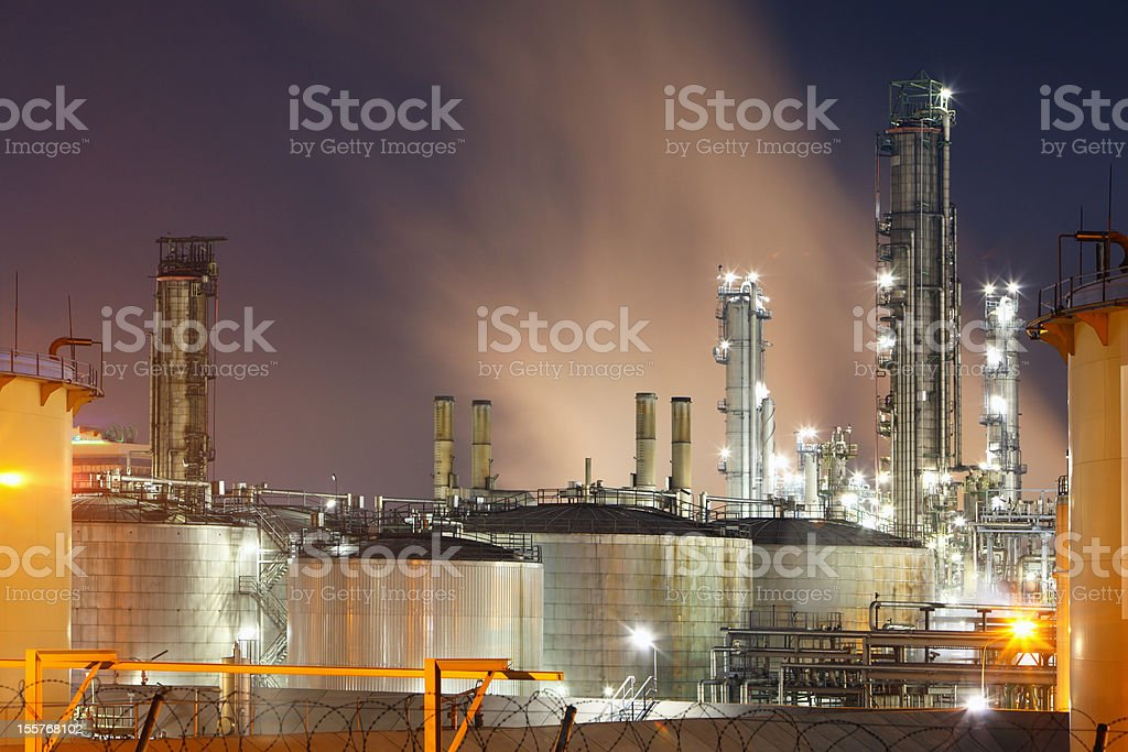 Night view of a petrochemical plant royalty-free stock photo