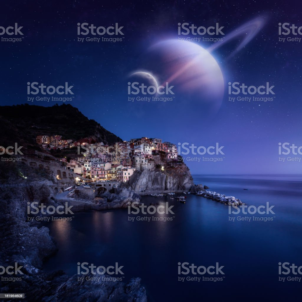 Night view of a small town stock photo