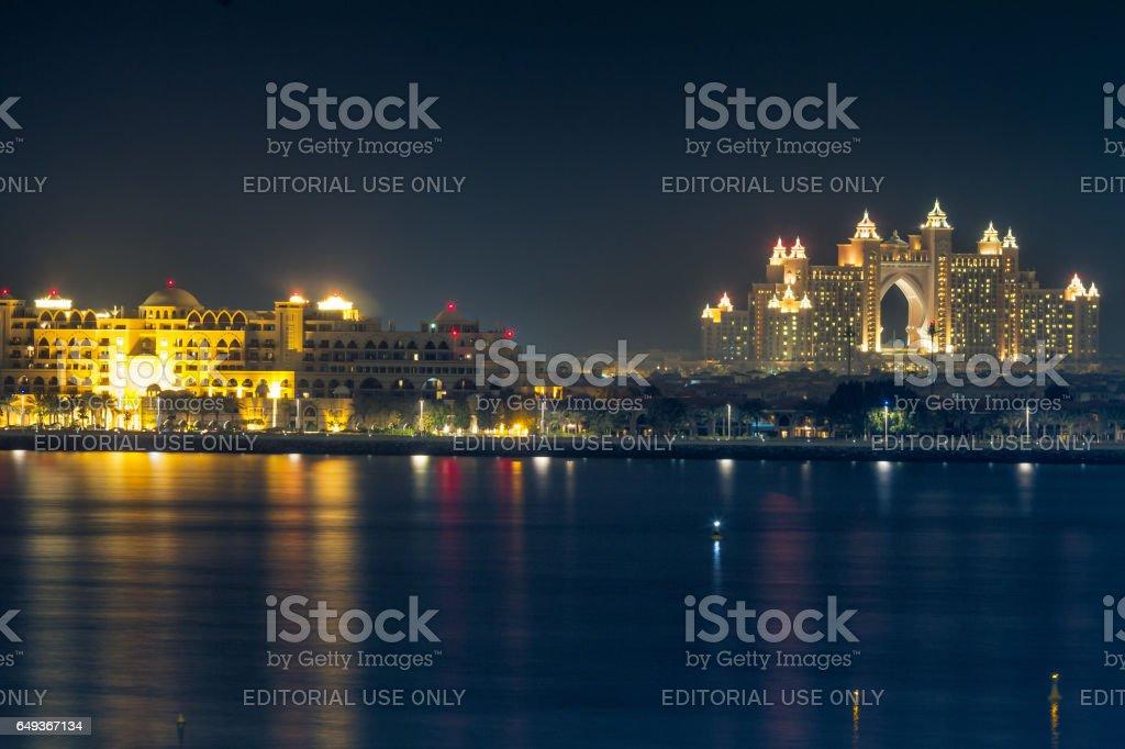 Night view of Atlantis The Palm in Dubai stock photo