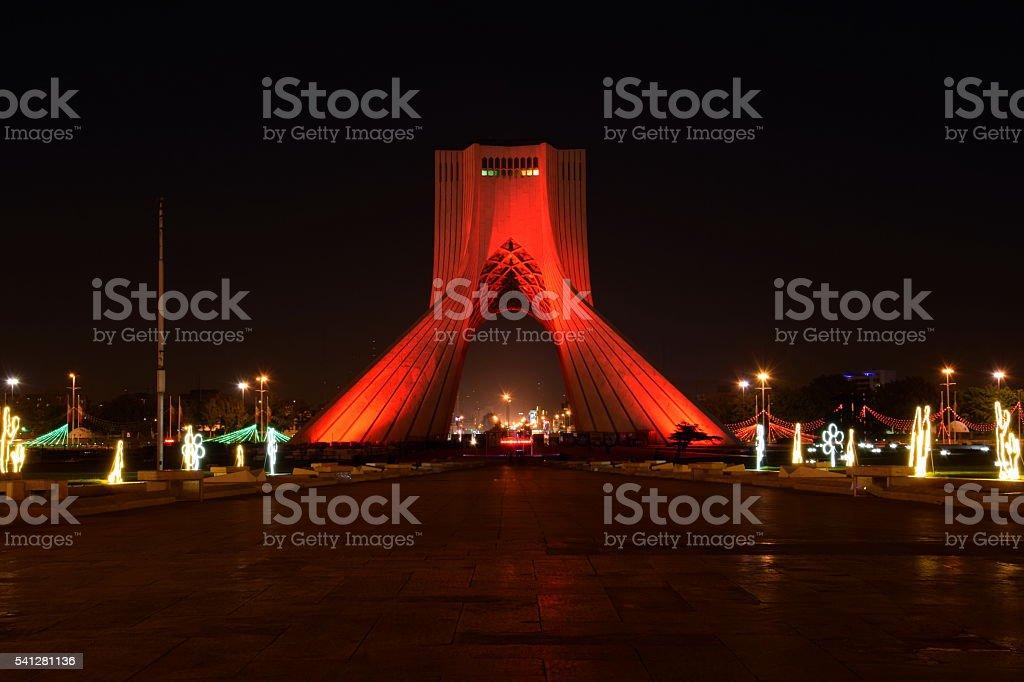 Night view of Azadi tower (Liberty tower) in Tehran, Iran. stock photo