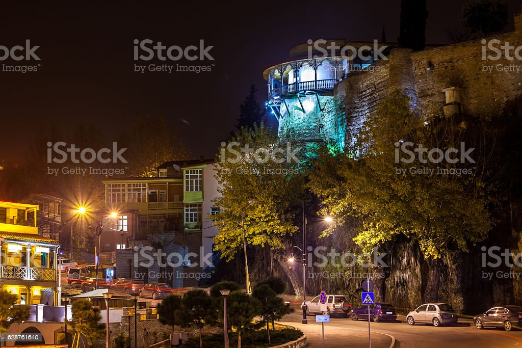 Night view of balcony and terrace of georgian queen palace stock photo