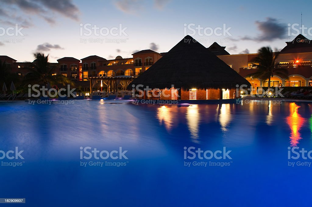 Night view of beautiful resort pool royalty-free stock photo