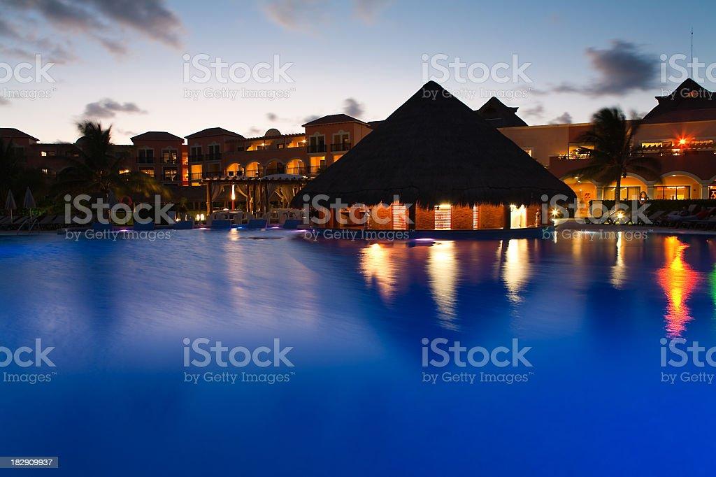 Night view of beautiful resort pool royalty-free stock photo