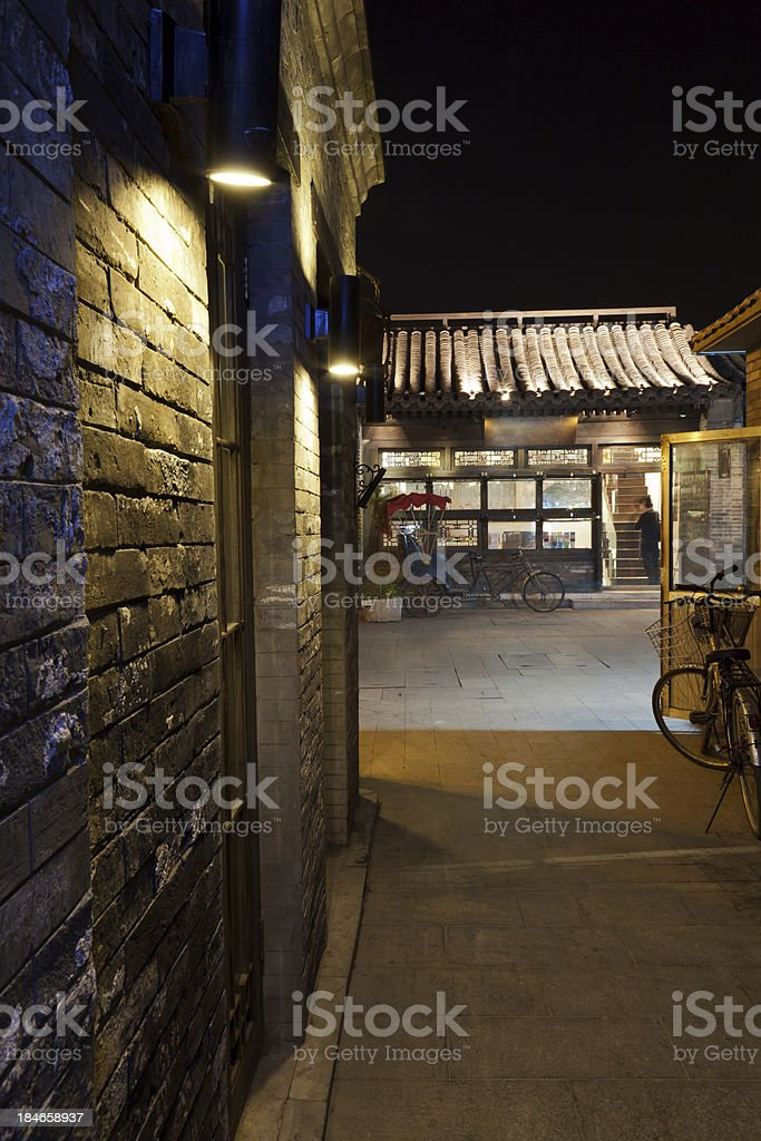 Night view of Beijing Hutong alley,China royalty-free stock photo