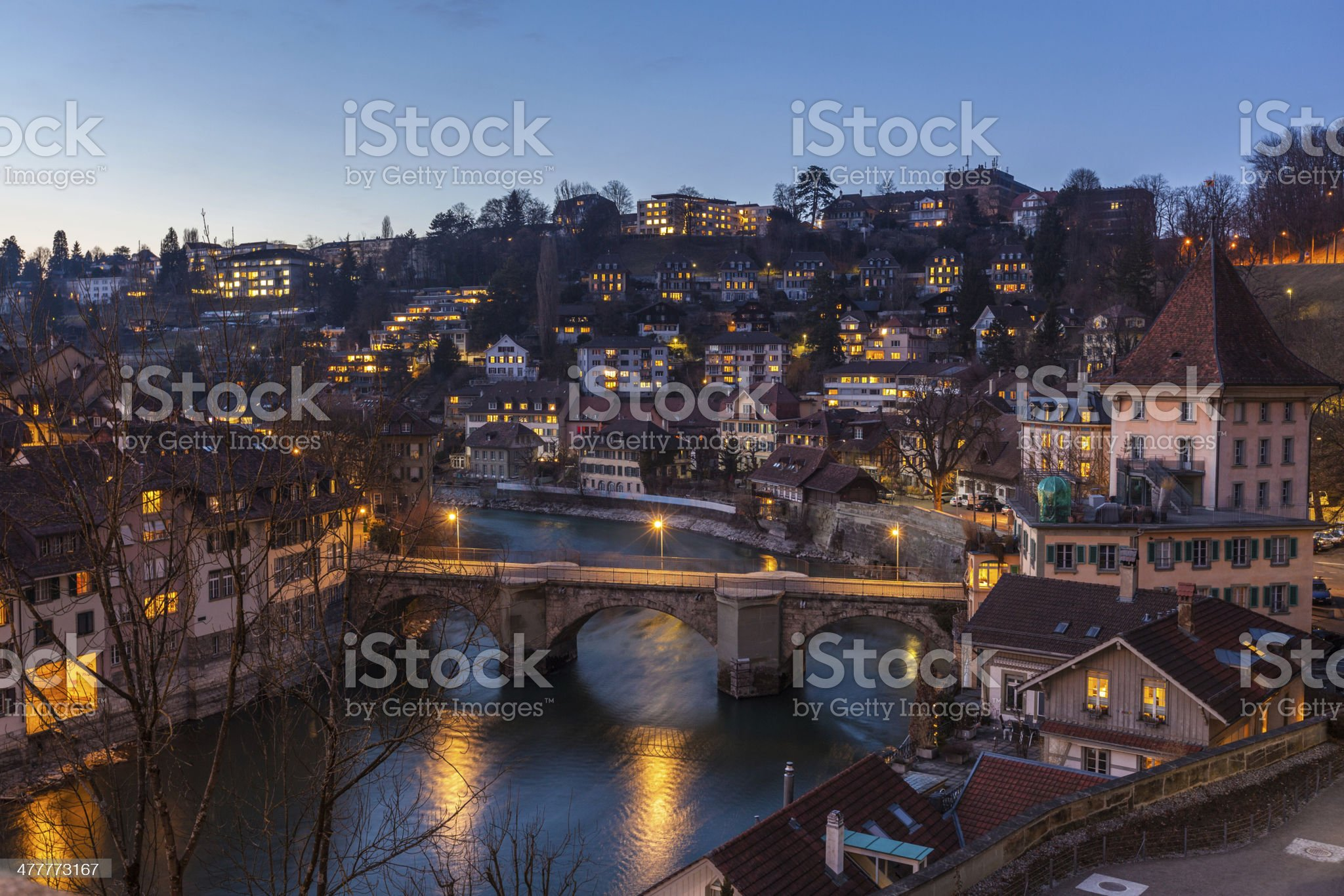 Night View of Bern and Aare River royalty-free stock photo