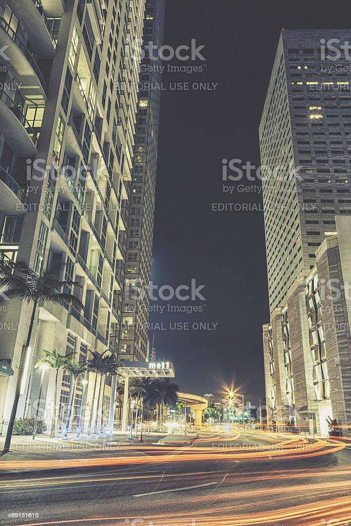 Night View of Biscayne Boulevard, Miami stock photo