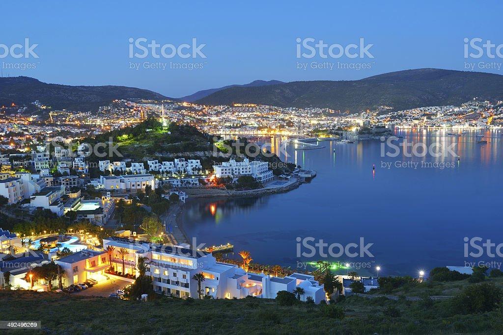 Night view of Bodrum, Turkey stock photo