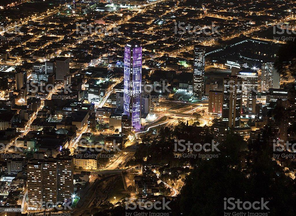 Night view of Bogota stock photo