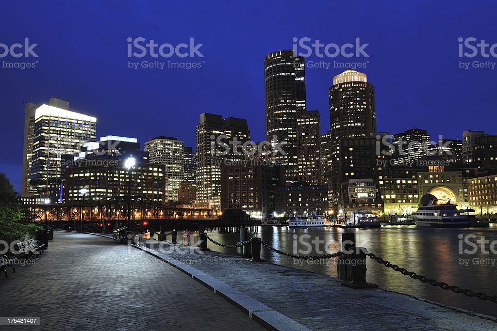 Night View of Boston Harbor royalty-free stock photo