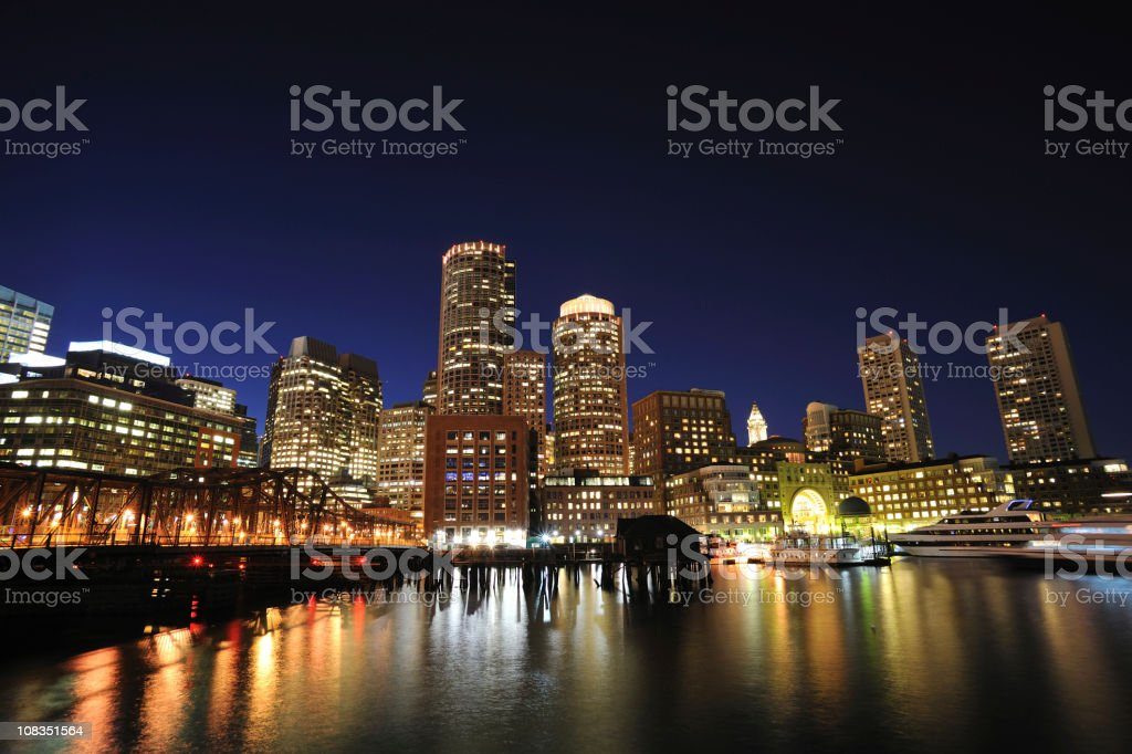 Night View of Boston Waterfront royalty-free stock photo