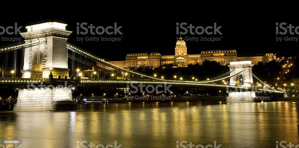 Night view of Buda Castle and Chain Bridge royalty-free stock photo