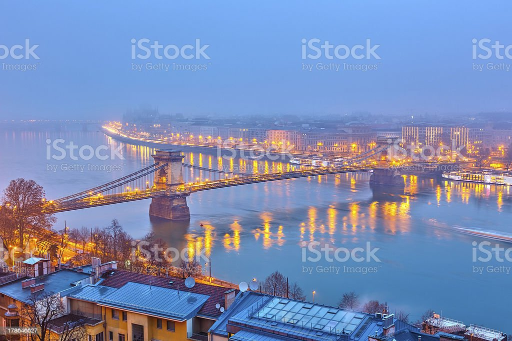 Night view of Budapest royalty-free stock photo