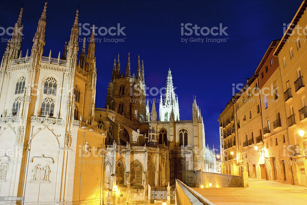 Night view of Burgos cathedral royalty-free stock photo