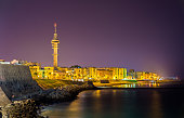 Night view of Cadiz with Tavira II Tower - Spain