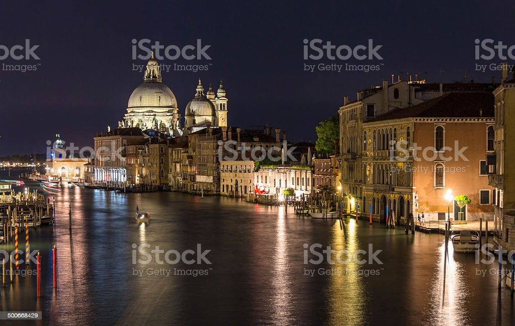 Night view of Canal Grande in Venice royalty-free stock photo