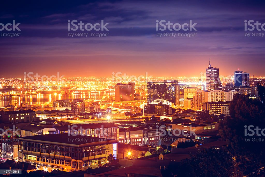 Night view of Cape Town downtown in South Africa stock photo