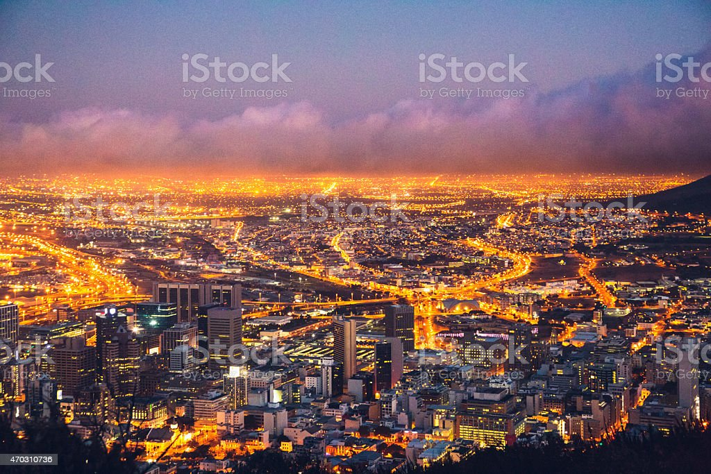 Night view of Cape Town in South Africa stock photo