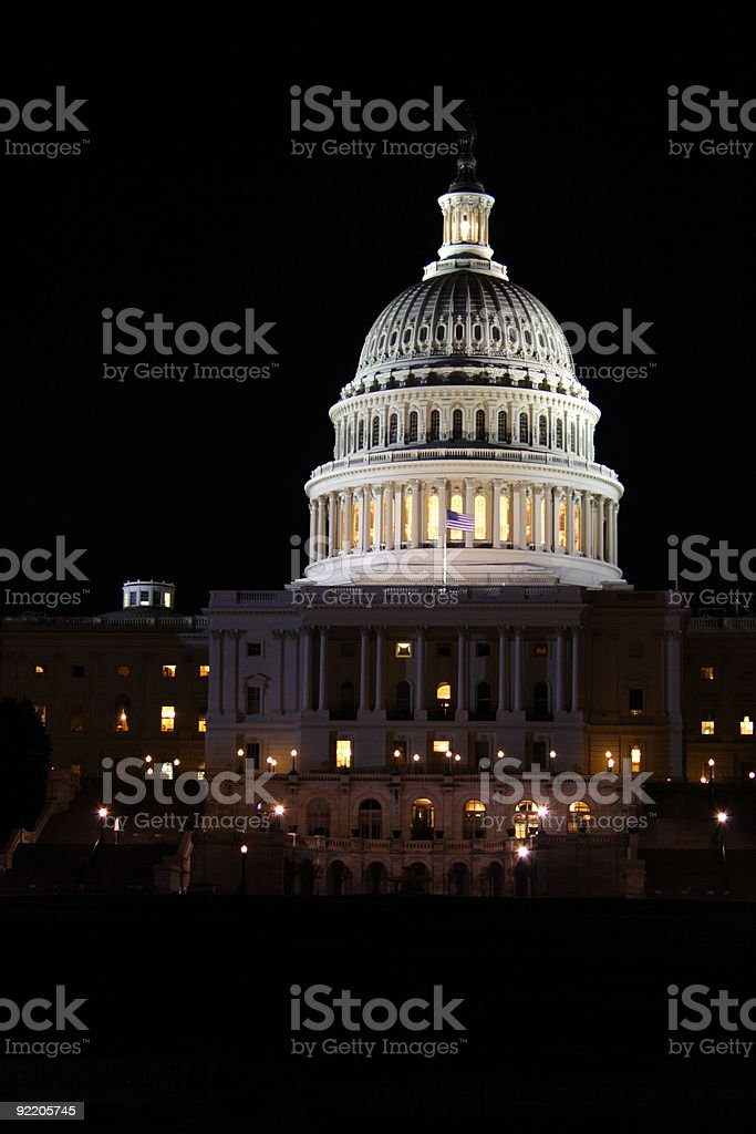 Night view of Capitol Building, Washington D.C., USA royalty-free stock photo