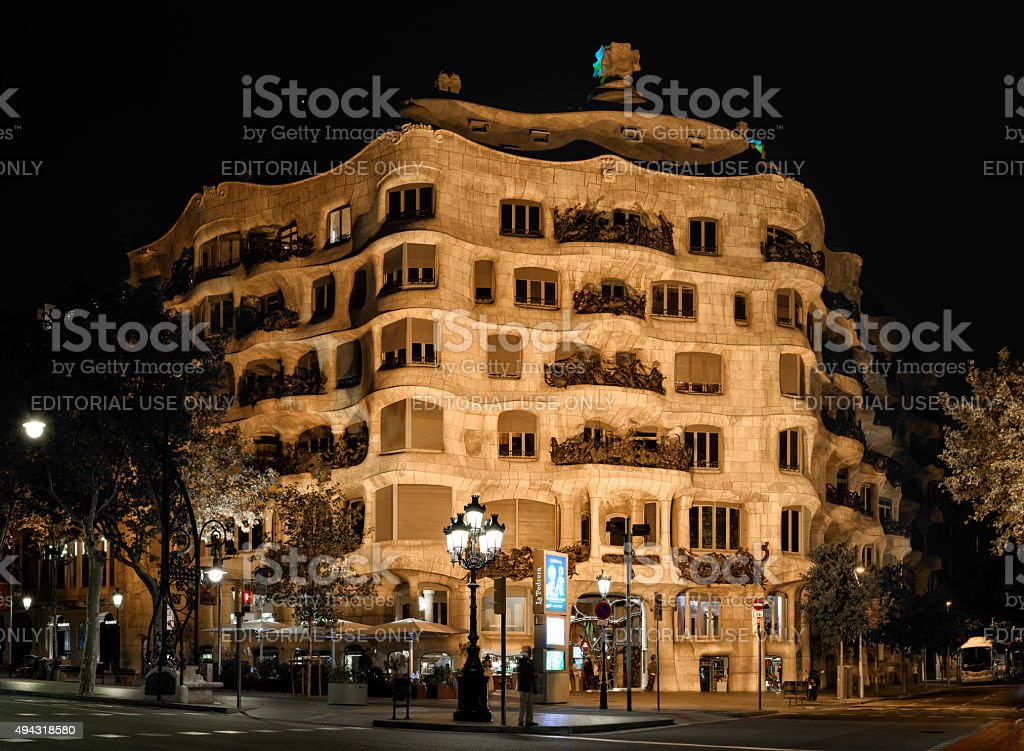 Night view of Casa Mila, Barcelona stock photo