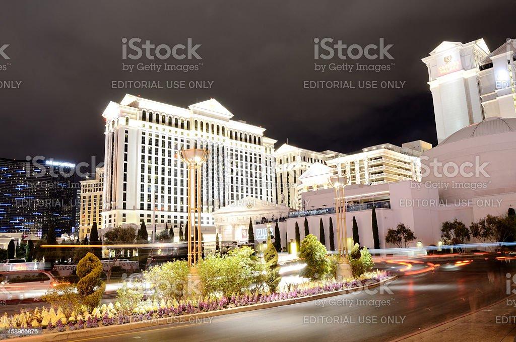 night view of Casino caesa's palace in Las Vegas stock photo