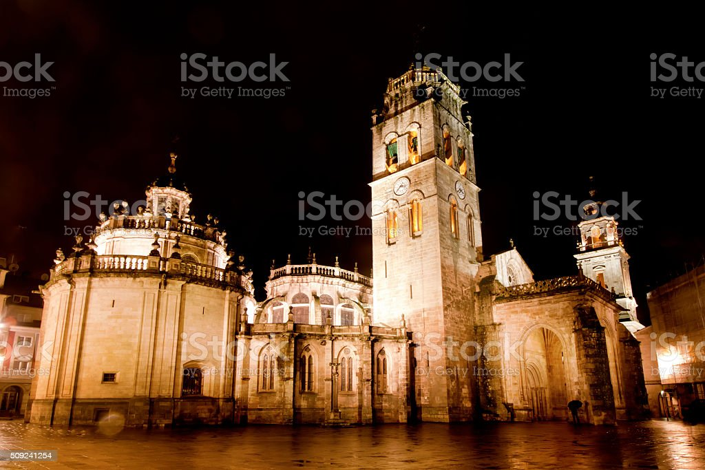 Night view of Cathedral in Lugo, Galicia, Spain stock photo