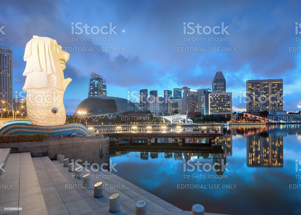 Night view of central Singapore stock photo