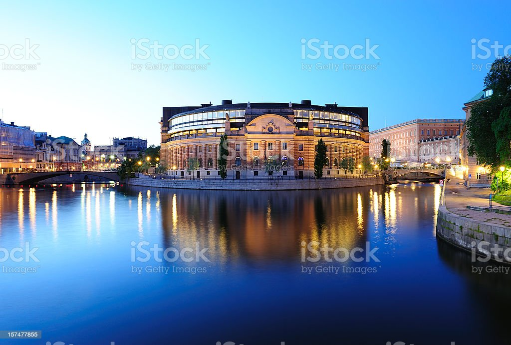 Night view of central Stockholm stock photo