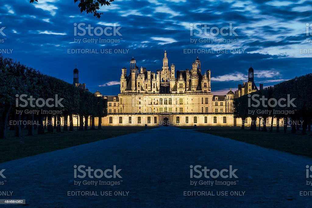 Night view of Chambord Castle - Loire - France stock photo